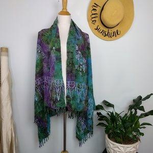 Batik Butterfly Sarong Wrap Scarf Boho Tapestry
